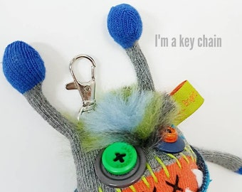 "Keychain / purse dangle  5"" Sqwaggle monster"