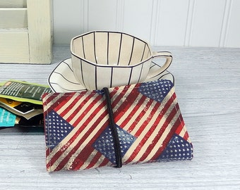 Red white blue Tea wallet - gift for tea drinker - US flag tea wallet - wallet for teabags - 4 pockets - tea caddie