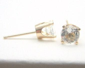Topaz 14K Gold Stud Earrings - Gold Earrings - 3 mm 4 mm 5 mm - Post Earrings - Topaz Earrings - Birthstone Earrings - Solid 14K Gold