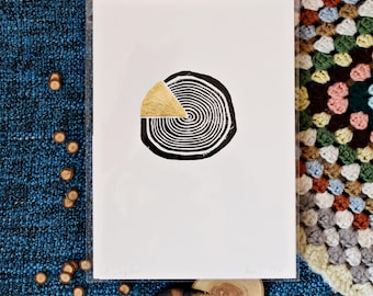 Handmade Lino Print in black ink with Gold Leaf // Run 1 - 1/10 (A5)