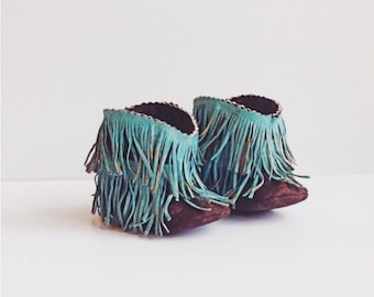 Baby Boots, Baby Western Booties Shabby Chic Fringe Turquoise and Brown Baby Western Boots, Cowboy Boots, Fringe Boots, Baby moccasin boots