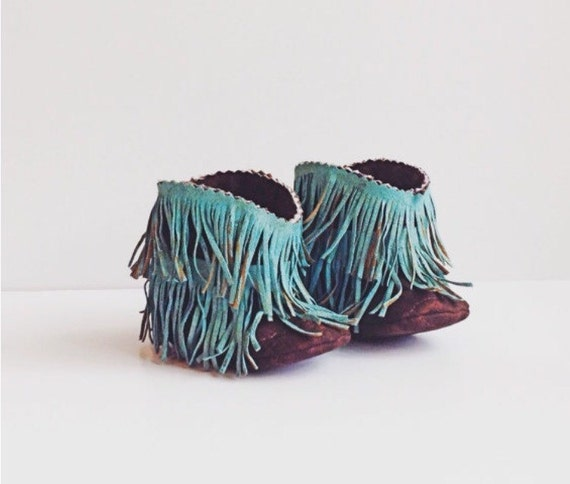 Baby Boots Baby Western Booties Shabby Chic Fringe Turquoise