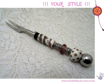 FORK for COLD CUTS with glass bead handle !lampwork! individual handmade