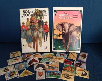 50 Stamps from 50 Countries Stamp Album, The Animal Kingdom Stamp Album-FreeUS Shipping