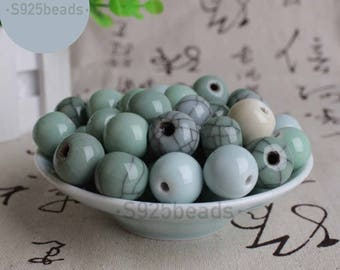16mm Celadon beads with different glaze colors for bracelet 100% handmade