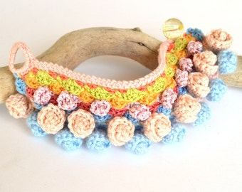 SUPER SALE, pink blue bracelet, pom pom bracelet, mexican bracelet, blue pink bracelet, chunky crochet bracelet, ethnic textile bracelet