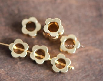 10pcs Gold Round Flower Bead Frame Charms, Real Gold plated Brass Ring Connectors, Outer Size 8mm Inner 4.6mm (GB-037)