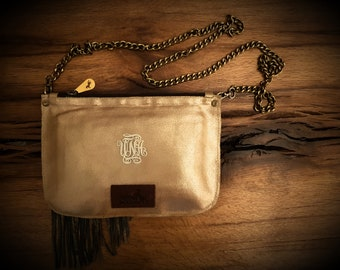 Leather Clutch, Evening Bag, Bohemian Bag, Personalized Leather Bag, Monogram Leather Bag, Boho Bag, Gold Leather Bag, Fringe Leather Bag