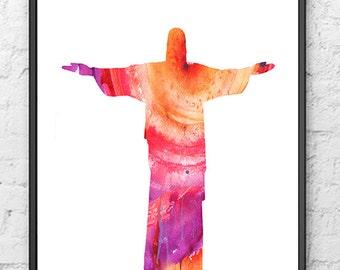Watercolor Art Print Jesus Painting  - Rio De Janeiro Brazil -  Wall Art - 243