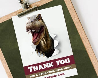 Dinosaur Thank You Card, Dinosaur Thank You Note INSTANT DOWNLOAD you personalize at home