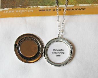 Jane Austen Locket Necklace Quote Pride and Prejudice - Obstinate Headstrong Girl Rose Silver Jewelry Jewellery Cameo Personalised Bookworm