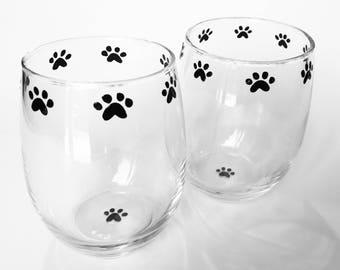Paw Print Stemless Wine Glasses