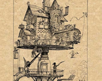 Albert Robida Art Print Steampunk Futuristic Aerial Rotating House Antique Vintage 1883