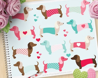 Valentine's Day Clipart, Puppy Love, Dachshunds, Doxie, Valentine Dogs, Commercial Use, Vector clip art, SVG Files