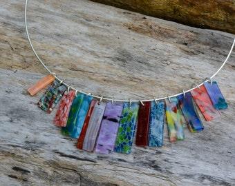 mosaic glass cascade necklace