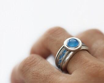 Unique Blue engagement ring - Blue Agate Sterling silver-Blue Ring blue enamel-Blue Agate ring- Solitaire Engagement Ring-Man ring-man gift