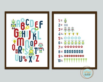 Robots Nursery Print for kids, Set of 2,  Robots ABC and 123, 8X10 Inches, Custom Sizes and Colors, Play room art, Robots for boys