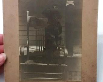 Black Spaniel Dog In Rocking Chair Cabinet Card, Antique Vintage Photo, c. 1920s 1930s