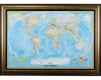 Classic World Push Pin Travel Map, Antique Copper and Black Frame, 24x36-Inch  (0022436MAP01D)