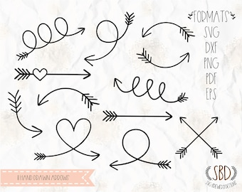 Hand drawn arrows, Arrows SVG, EPS, PNG, Dxf, Pdf Clipart, for cricut, silhouette studio, cut file, vinyl decal, stencil template, cards