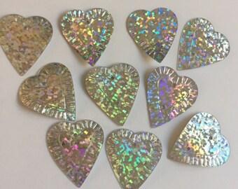 New Sequins - Metallic Silver Hologram Hearts