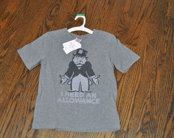 Boys Medium Monopoly Tee, Thrifted Gray Shirt, Boys Gray Shirt, Boys Monopoly Shirt, Game Night Shirt, Gray Medium Shirt, Thrift Store Finds