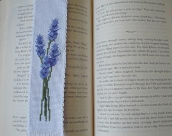 Cross stitch embroidered bookmark - Lavender