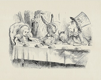 Mad Tea Party - Alice in Wonderland classic vintage style poster print copy of book illustration by John Tenniel