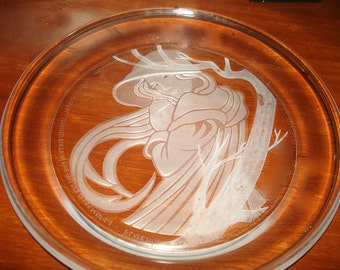 Collector Plate Michael Yates 'Angelica' 9 Inch Hand Etched Morgantown Full Lead Crystal from Yates 'Country Girls' Series