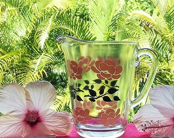 Glass Pitcher With Hand Painted Pink and Black Floral Design, Vintage Pressed Glass Water/Juice Pitcher, Glass Pitcher, Vintage Kitchen