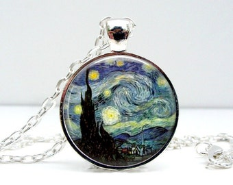 Starry Night Necklace: Van Gogh. Pendant. Charms. Art Pendant. Silver Jewelry. Handmade Jewelry. Jewellery (1061)