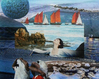 A woman in the sea, handcut collage