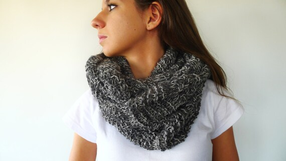 Knitting Loop Scarf : Grey knit loop scarf wool infinity unisex circle