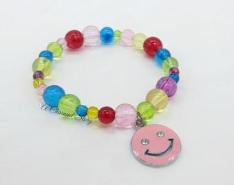 Girls Happy Face Stretch Bracelet (Pink)