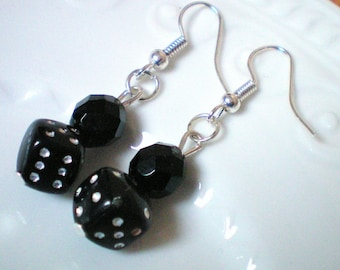 2 dice - colors to choose from - h 4 cms and Crystal beads dangling earrings