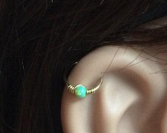 cartilage piercing hoop, piercing hoop, cartilage jewelry, helix jewelry tiny piercing top ear piercing,beaded hoop earring,earlobe piercing