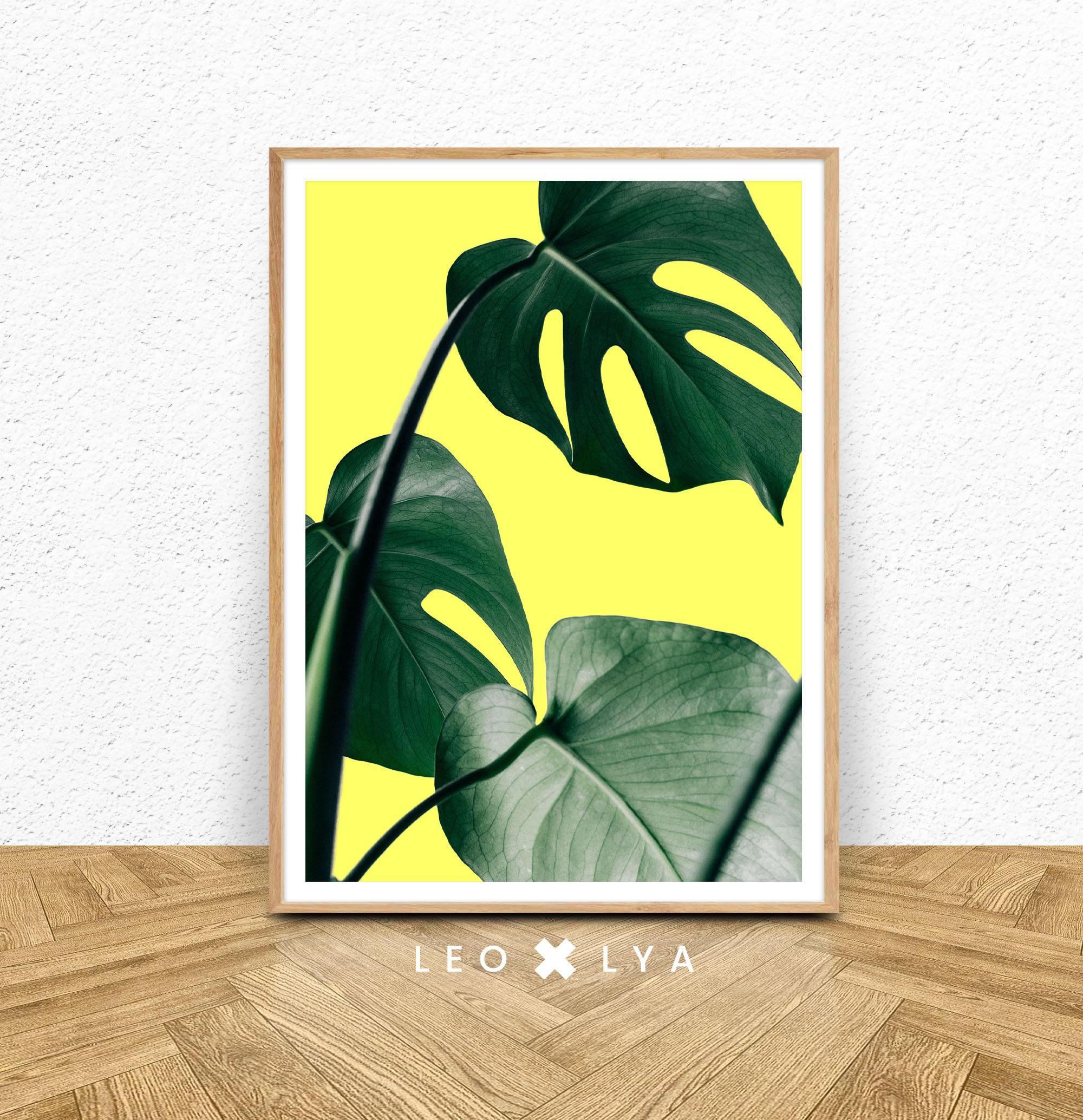 Monstera Leaf Print Tropical Plant Wall Art Printable Wall