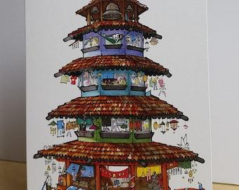 Bell Tower Greeting Card/ Bell Tower Tiny House Card/ Handmade Card/ Blank Card/ Fine Art Card/ Quirky Card/ Tiny Houses / Random