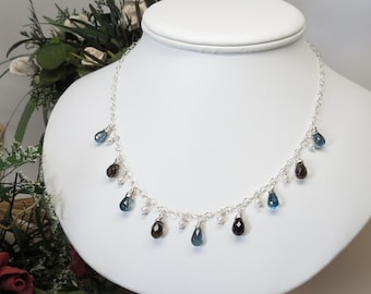London Blue Topaz With Smoky Quartz, Pearl Necklace, Blue Gemstone Necklace In Sterling Silver, December Birthstone, 17-19.5 Inches Length