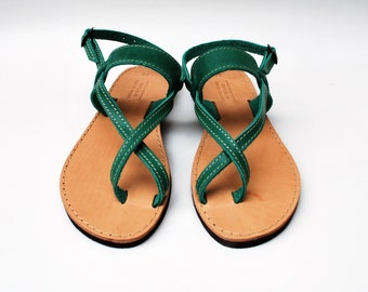 Strap Sandals in Green Color made with 100% Genuine Leather