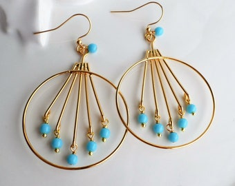 Large Gold Hoop Earrings, Gold Circle Chandelier Earrings With Turquoise Glass, Blue Gold Large Hoop Earrings, Gold Statement Earrings
