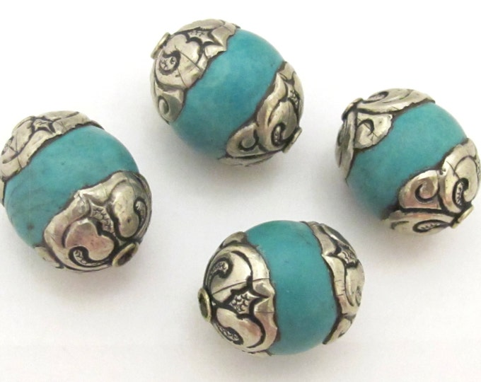 2 BEADS - Tibetan silver capped thick tibetan turquoise gemstone beads 17 - 18 mm x 20 - 22 mm - BD782