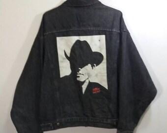Vintage Denim Jacket Malboro Wild West/big picture at back/black/xLarge/malboro classic/made in usa