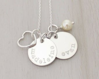 """Two Name Necklace - Kids Name Necklace - Mom Necklace - Gift for Mom - Personalized 5/8"""" Discs - Custom Hand Stamped Necklace"""