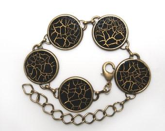 Bracelet with black gossamer, black handpainted bracelet, hand painted bangle, black resin bangle, cracked bracelet