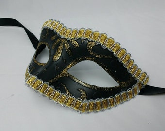 Black and gold mask, masquerade masks, masked ball masks, costume mask, Halloween, fancy dress eye wear, ladies mask, hen party masks, UK