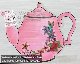 Hummingbird Teapot - Digital Stamp