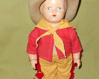 Vintage Whistler Whistling Composition and Cloth Cowboy Doll