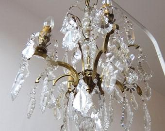 Large French Antique 1900s Girandole chandelier / RESTORED / Art Nouveau chandelier / Paris apartment / Louis XV / Bronze and Crystal Drops