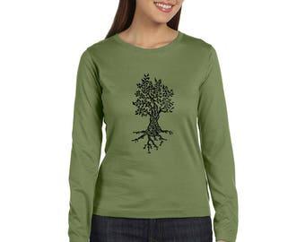 Long Sleeved Tree Tshirt, Cotton crewneck ladies tee shirt, olive drab or custom colors Forrest, Hiking Shirt, Nature Tee Shirt Cotton Crew